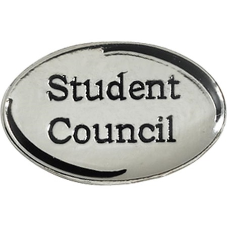 Student Council Award Pin - Silver Oval