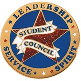Student Council Award Pin - Red Glitter Star