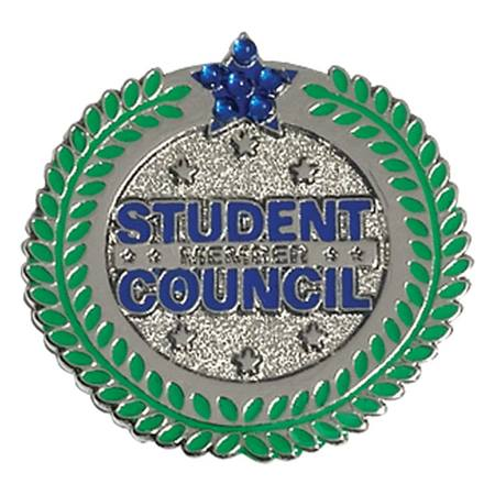 Student Council Award Pin - Blue Star and Laurel Ring