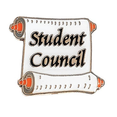 Student Council Award Pin – White Scroll
