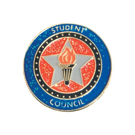 Student Council Award Pin - Glitter Star and Torch