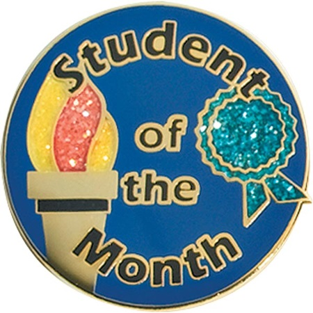 Student of the Month Award Pin - Glitter Torch and Ribbon