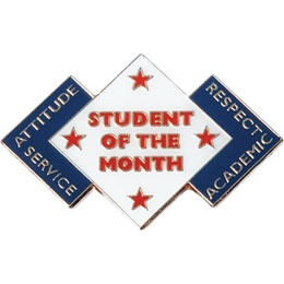 Student of the Month Award Pin - Attitude, Service, Respect, Academic