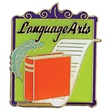 Language Arts Award Pin - Book and Scroll