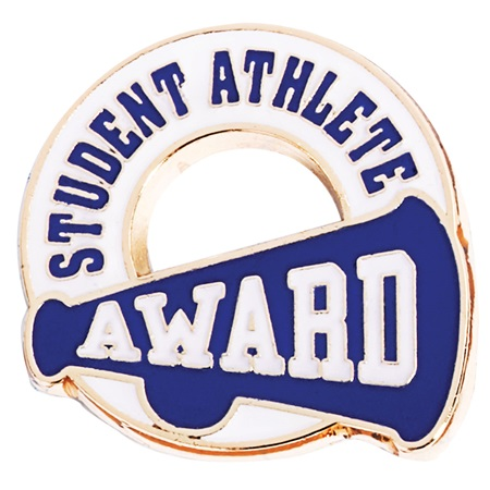 student athletic award pin blue anderson s