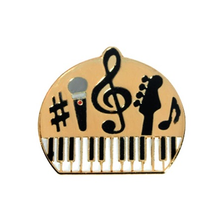 Music Award Pin - Piano, Guitar, and Microphone