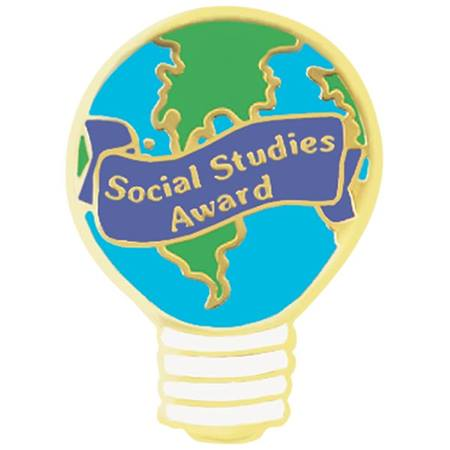 Social Studies Award Pin - Globe Light Bulb