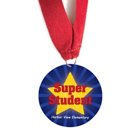Custom Medallion - Gold Star Super Student