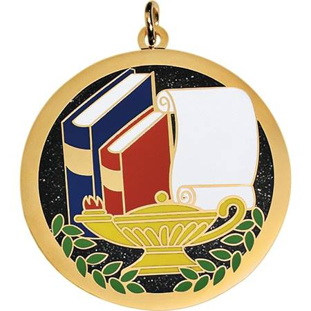 Glitter Medallion - Books, Lamp and Scroll