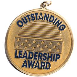 Outstanding Leadership Award Brushed Metal Medallion