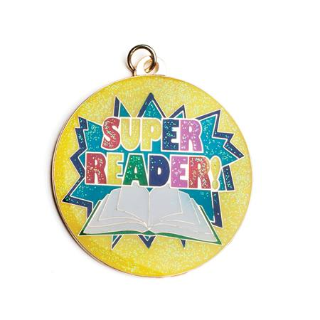 Super Reader Glitter Medallion