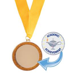 Gold Glitter Medallion with Sticker