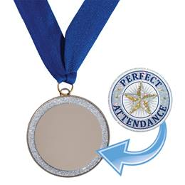 Silver Glitter Medallion with Sticker