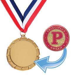 Gold Ribbon Design Medallion with Sticker