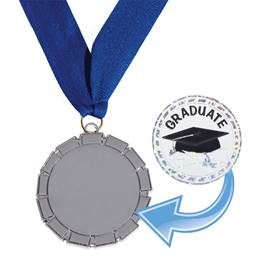 Silver Ribbon Design Medallion with Sticker