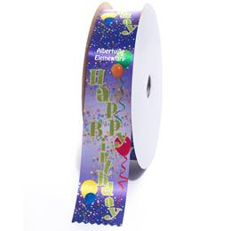 Deluxe Custom Award Ribbon Roll - Happy Birthday Balloons