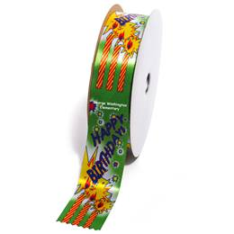 Deluxe Custom Award Ribbon Roll - Happy Birthday Candles