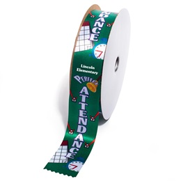 Deluxe Custom Award Ribbon Roll - Perfect Attendance Checkmarks