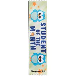 Full-color Custom Ribbon - Student of the Month Owls