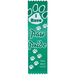 "Award Ribbon - Green ""I Have Paw Pride"""