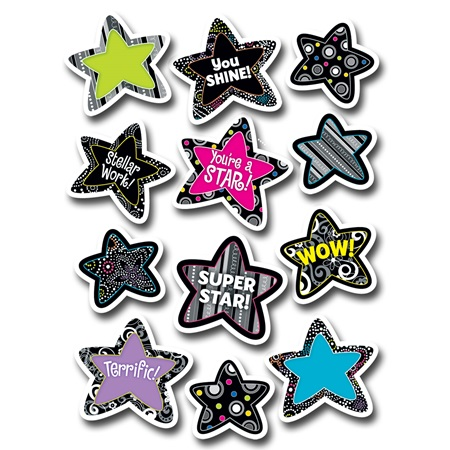 Black and White Stars Award Stickers