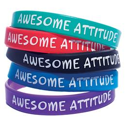 Awesome Attitude Wristband Assortment, 25/pkg