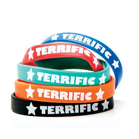 """Terrific"" Silicone Wristband Assortment, 25/pkg"