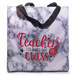Without Teachers Life Would Have No Class Marbled Tote Bag