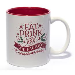 White Ceramic Coffee Mug - Eat, Drink, and Be Merry