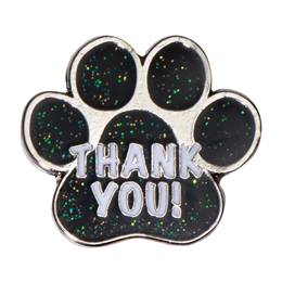 "Appreciation Award Pin -  ""Thank You"" Black Paw"