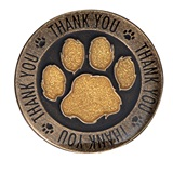 Appreciation Award Pin - Thank You Black/Gold Glitter Paw