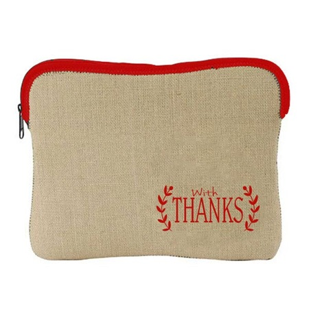 """With Thanks"" Burlap Tablet Bag"