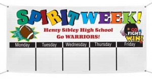 Banner with Spirit Week Calendar Design