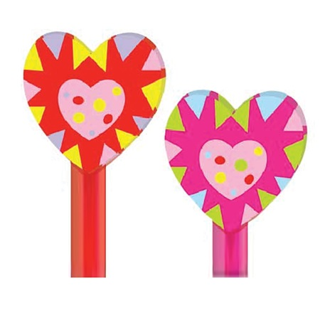 Funky Hearts Pencil Topper Erasers