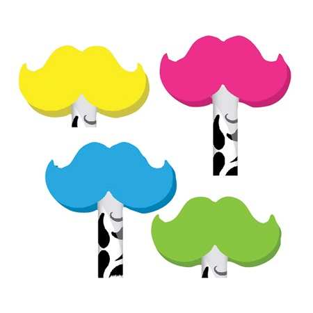 Neon Mustache Pencil Topper Erasers