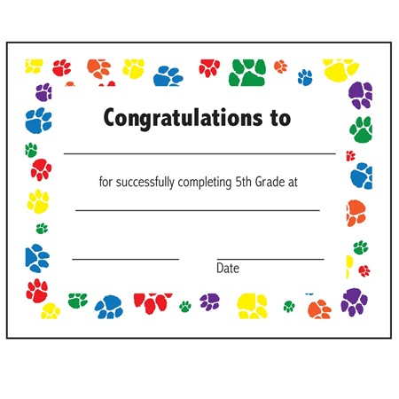 5th grade completion certificate andersons