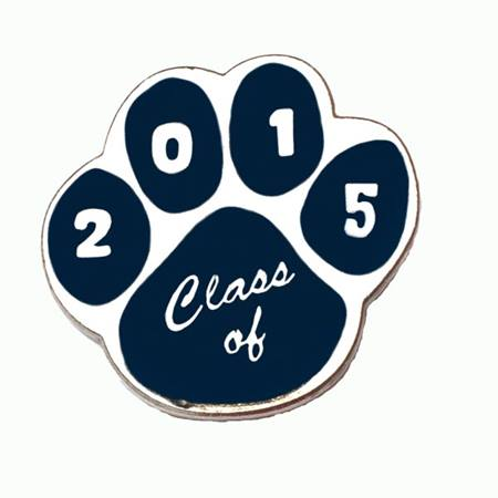 Graduation Award Pin - Blue/Silver Paw 2015