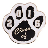 Award Pin - Class of 2016 Black and White Paw