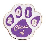 Award Pin - Class of 2016 Purple and White Paw