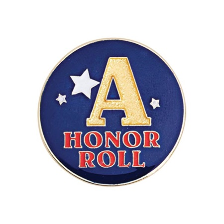 """A"" Honor Roll Award Pin - Blue With Stars"