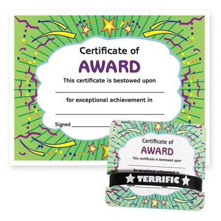 Wristband/Mini Certificate Award Set - Certificate of Award