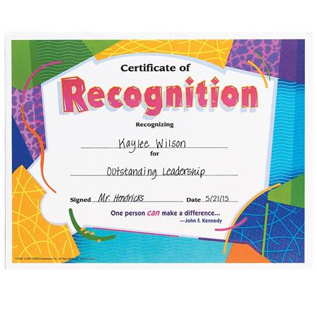 Pick-a-Set - Certificate of Recognition