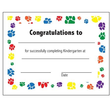 kindergarten award certificates