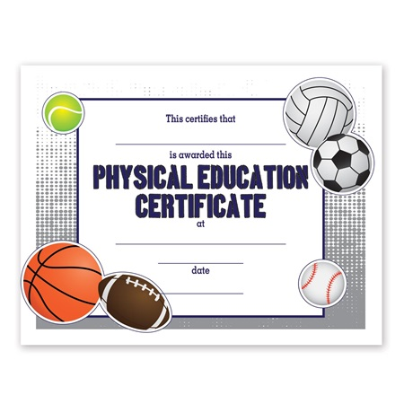 Full-color Physical Education Certificate