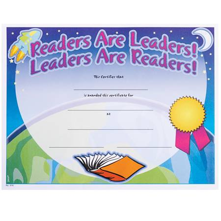 Full-color Reading Certificates - Readers Are Leaders