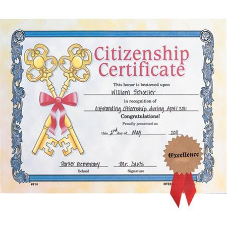 Small Certificates With Seals - Citizenship