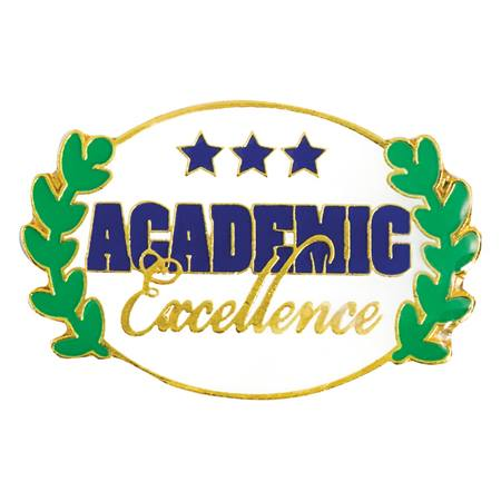 Academic Excellence Award Pin - Oval With Laurel