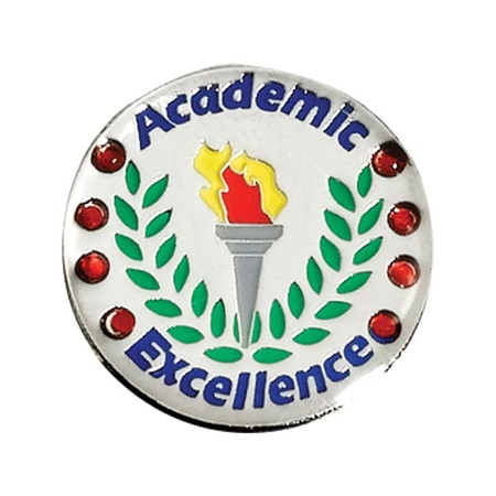 Academic Excellence Award Pin - Red Rhinestones