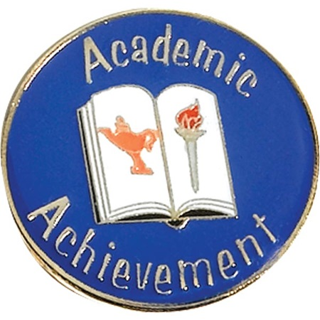Academic Achievement Award Pin - Lamp, Torch and Book