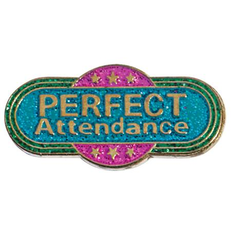 Attendance Award Pin - Perfect Attendance Glitter Pink and Teal